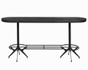Adonica Wire Brushed Black/Antique Black Oval Bar Table by Coaster