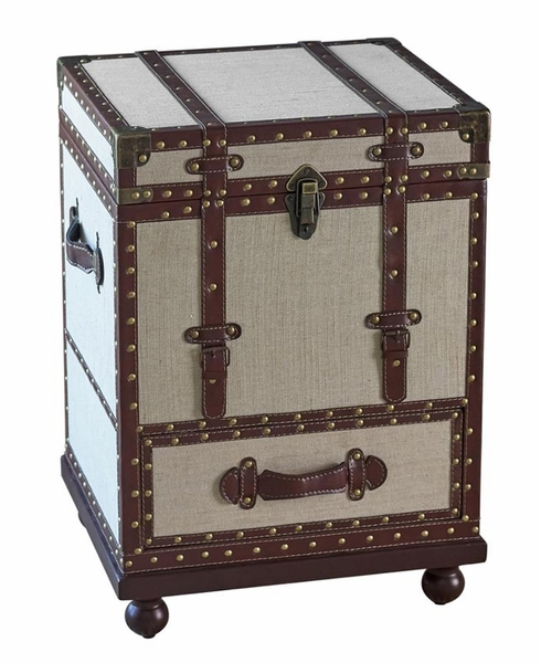 Bessie Beige Fabric/Bronze Leatherette Accent Cabinet by Coaster