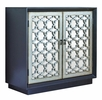 Evel Black Accent Cabinet with Antiqued Gold Lattice Design by Coaster