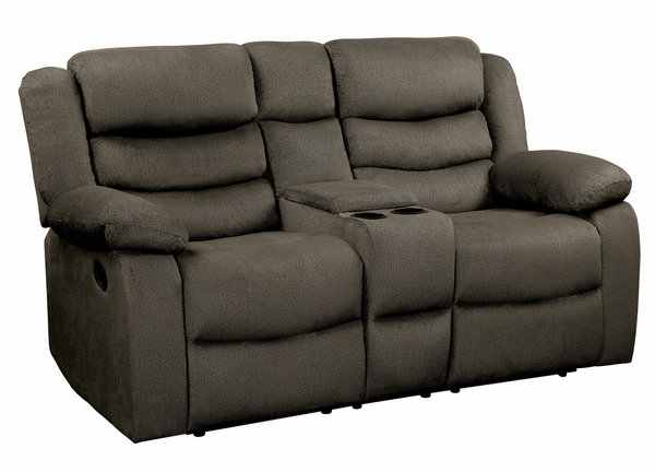 Discus Brown Manual Recliner Loveseat with Console by Homelegance