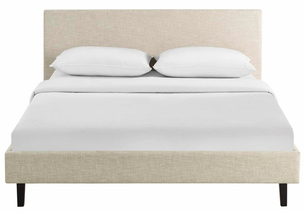 Anya Beige Upholstered Fabric Queen Bed by Modway
