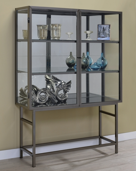 Emory Clear Glass/Black Nickel Metal Curio Cabinet by Coaster