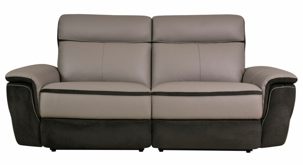 Laertes 2-Tones Gray Leather Power Recliner Loveseat by Homelegance