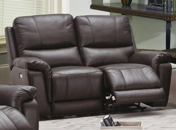Maud Espresso Leatherette Power Recliner Loveseat by Poundex