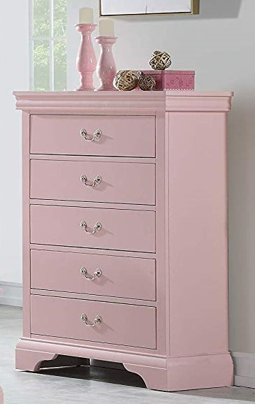 Candice Light Pink Wood 5-Drawer Chest by Poundex