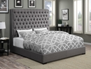 Camille Grey Fabric Queen Bed with Extra Tall Headboard by Coaster