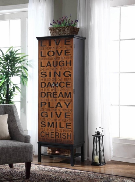 Abrea Rich Brown/Black Tall Accent Cabinet by Coaster
