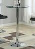 Anissa Chrome Metal Bar Table with Round Clear Glass Top by Coaster
