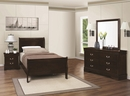 Louis Philippe 4-Pc Cappuccino Wood Twin Sleigh Bed Set by Coaster
