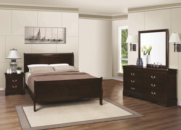 Louis Philippe 4-Pc Cappuccino Wood Full Sleigh Bed Set by Coaster