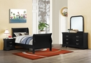 Louis Philippe 4-Pc Black Wood Twin Sleigh Bedroom Set by Coaster