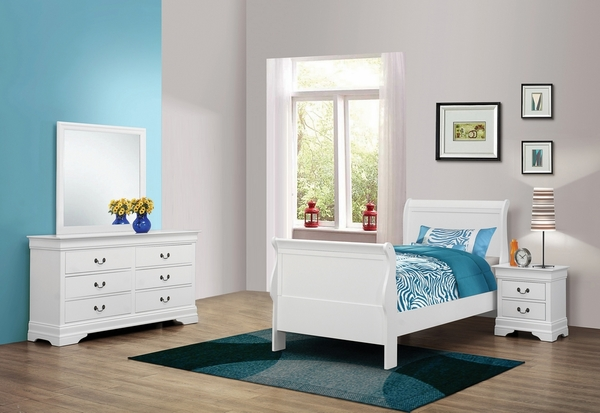 Louis Philippe 4-Pc White Wood Twin Sleigh Bed Set by Coaster