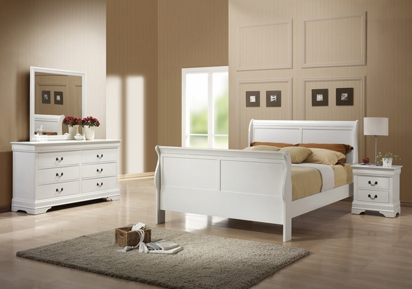 Louis Philippe 4-Pc White Wood Full Sleigh Bed Set by Coaster