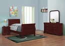 Louis Philippe 4-Pc Red Brown Wood Twin Sleigh Bedroom Set by Coaster