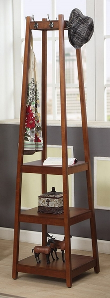 Arleen Brown Cherry Wood Hall Stand w/3 Shelves by Asia Direct