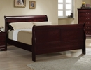 Louis Philippe 4-Pc Red Brown Wood Full Sleigh Bedroom Set by Coaster