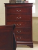 Louis Philippe 5-Pc Red Brown Wood Full Sleigh Bedroom Set by Coaster
