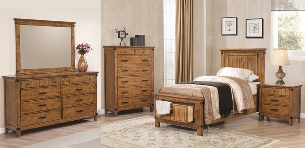 Brenner 5-Pc Rustic Honey Wood Twin Storage Bed Set by Coaster