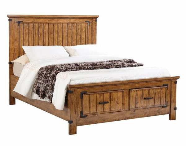 Brenner 5-Pc Rustic Honey Wood Full Storage Bed Set by Coaster