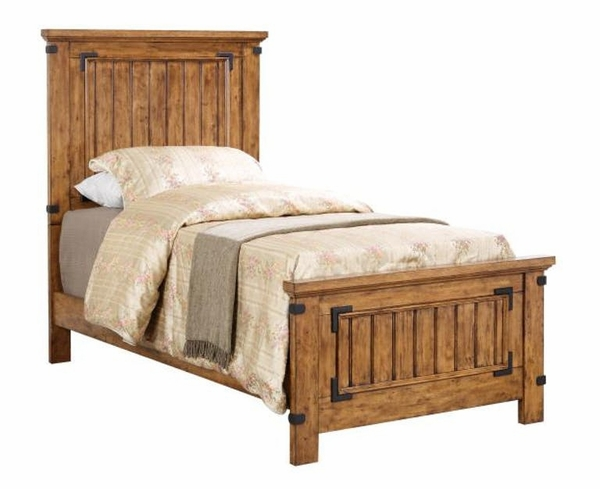Brenner 4-Pc Rustic Honey Wood Twin Panel Bed Set by Coaster