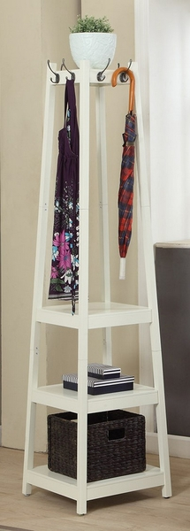 Arleen White Wood Hall Stand w/3 Shelves by Asia Direct