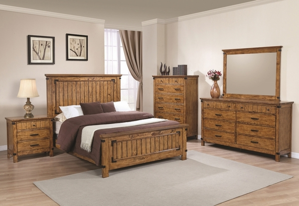 Brenner 5-Pc Rustic Honey Wood Full Panel Bed Set by Coaster