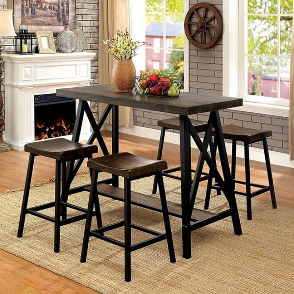 Lainey Medium Oak/Black Counter Height Table by Furniture of America