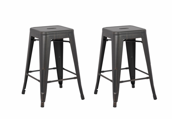 Clelia 2 Distressed Black Metal Counter Height Stools by AC Pacific