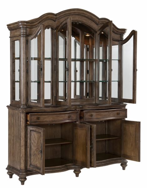 Heath Court Brown Oak Wood Buffet with Hutch by Homelegance
