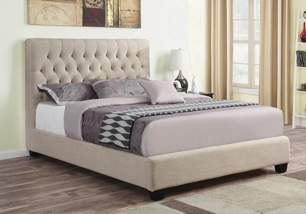 Chloe Oatmeal Fabric Upholstered Queen Bed by Coaster