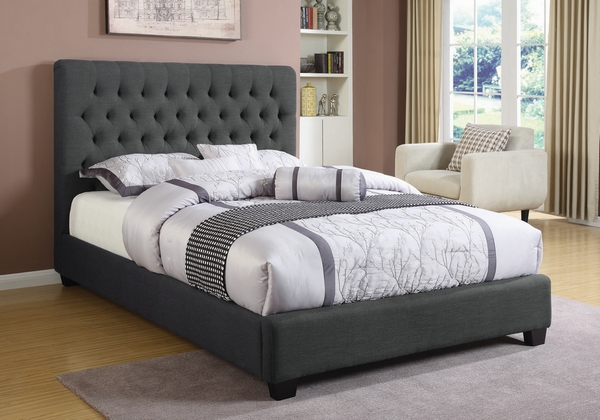Chloe Charcoal Fabric Upholstered Queen Bed by Coaster