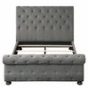 Crofton Gray Fabric Button Tufted King Bed by Homelegance