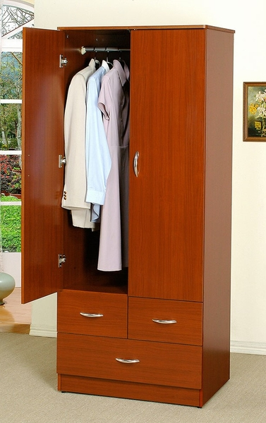 Donelle Cherry Finish Wood Wardrobe w/2 Doors by Asia Direct
