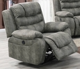 Breanne Slate Grey Breathable Leatherette Power Recliner by Poundex