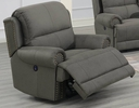 Lupita Slate Blue Breathable Leatherette Power Recliner by Poundex