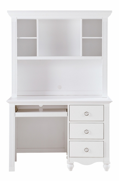 Meghan White Wood Writing Desk with Hutch by Homelegance