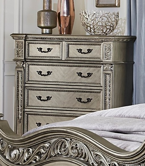 Catalonia Platinum Gold Wood 5-Drawer Chest by Homelegance