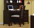 Phoenix Cappuccino Wood Computer Desk with Chair by Coaster