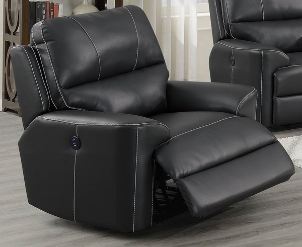 Kyra Black Breathable Leatherette Power Recliner by Poundex