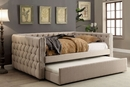 Suzanne Ivory Fabric Twin Daybed w/ Trundle by Furniture of America