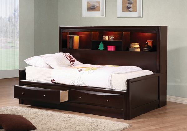 Phoenix Cappuccino Twin Bookcase Storage Daybed by Coaster