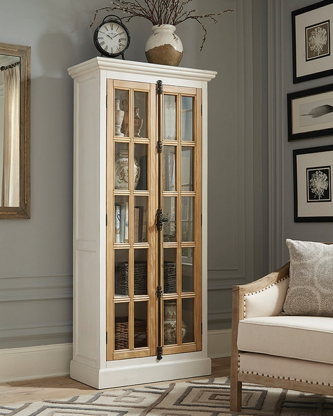 Emmie Antique White/Brown Wood Curio Cabinet by Coaster