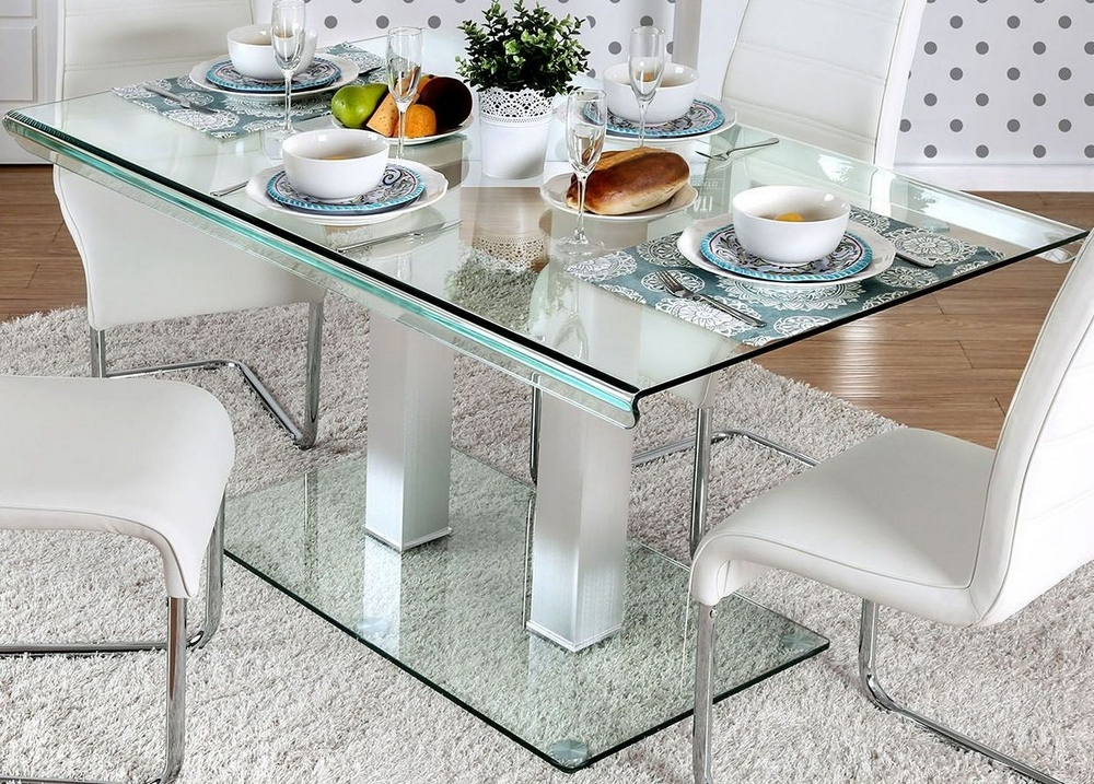 Richfield Silver Metal Glass Dining Table By Furniture Of America