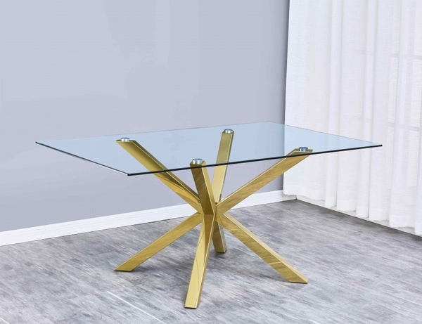 Beverley Clear Glass/Gold Metal Dining Table by Best Quality Furniture