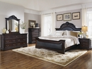 Cambridge Brown Leatherette/Cappuccino Wood Queen Panel Bed by Coaster
