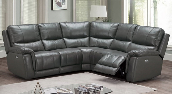 Florine 3-Pc Slate Grey Power Recliner Sectional Sofa by Poundex