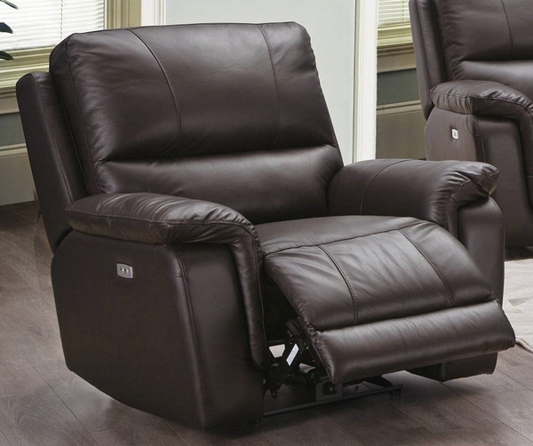 Maud Espresso Top Grain Leather Match Power Recliner by Poundex