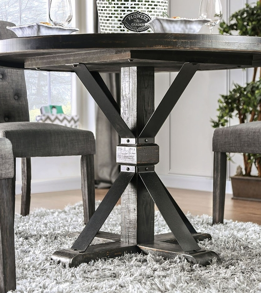 Alfred Antique Black Wood Round Dining Table by Furniture of America
