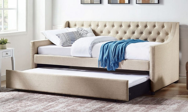 Emmy Beige Fabric Twin Daybed with Trundle by Furniture of America