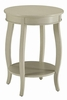 Aberta Antique White Wood Round Side Table with Shelf by Acme